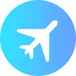 discover icon - a silhouette of a plane inside a blue circle